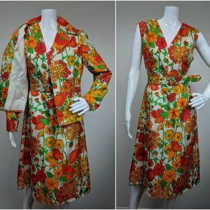 VTG 1960s Rona New York 3 Pc Dress Suit Set FLoral